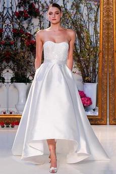 Asymetrické Přírodní pas Bez rukávů Bez ramínek Svatební šaty
