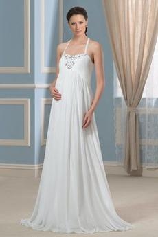 Říše pasu Elegantní Říše S hlubokým výstřihem Skládaný živůtek Svatební šaty