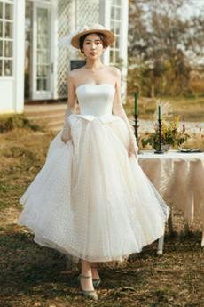 Jednoduchý Zašněrovat boty Čaj délka Jaro A-Čára Svatební šaty