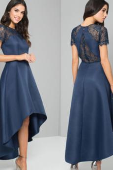 Vysoká nízká Krajkou Overlay Krátké rukávy Krajka Večerní šaty