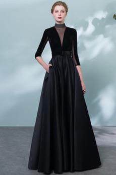 Tři čtvrtiny rukávy Hluboký výstřih do V Oslava Promové šaty