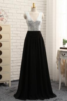 Elegantní Přírodní pas Flitry Zip nahoru Hluboký výstřih do V Promové šaty