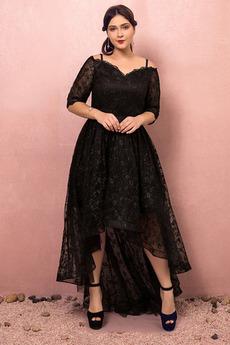 Přírodní pas Vysoká nízká Iluze Tři čtvrtiny rukávy Promové šaty