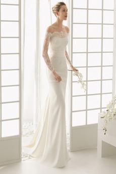 Plášť Dlouhá Iluze Pláž Dlouhý rukáv Střední záda Svatební šaty