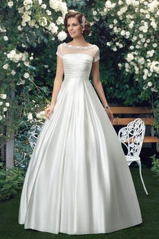 Krátký rukáv Kostel Přírodní pas Zametání vlečka Svatební šaty