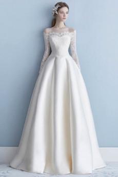 Jednoduchý Rovné rameno Přírodní pas Iluze A-Čára Svatební šaty