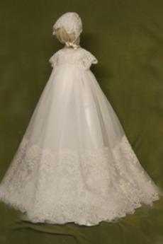Dlouhý Formální Obřad Víčko Polovina rukáv Luk Šperk Křest šaty