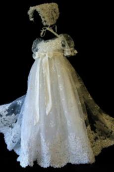 Vysoká krytina Drobounký Vysoký pasu Svatba Krátký rukáv Křest šaty