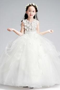 Bez rukávů houpačka Květina Zip nahoru Přirozeného pasu Květ dívka šaty