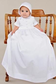 Délka podlahy Vysoký límec Satén Princezna hostina Křest šaty