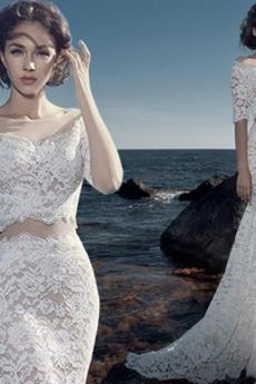 Krajka Iluze Rovné rameno Přírodní pas Moře dívka Svatební šaty