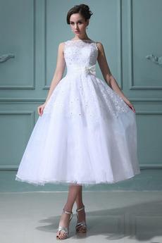 Čaj délka Bílá Bez rukávů Zahrada Romantický Přírodní pas Svatební šaty