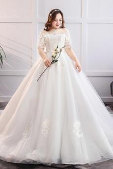 Přírodní pas Formální Rosný rameno Dlouho Trojúhelník Svatební šaty
