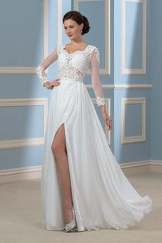 Náměstí A-Čára Iluze Rozdělit přední Krajkou Overlay Svatební šaty