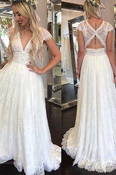 A-Čára Střední záda V-krk Jednoduchý Hluboký výstřih do V Svatební šaty
