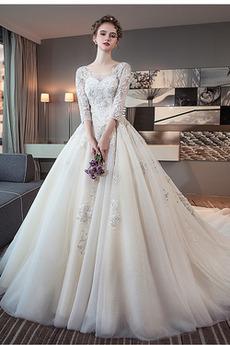 S hlubokým výstřihem Tři čtvrtiny rukávy Královský vlak Svatební šaty
