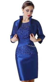 Zip nahoru Elegantní T-shirt rukáv Krajkou Overlay Matky šaty