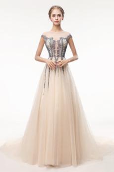Střední Tyl Zip nahoru Zamést vlak Lištování Bateau Promové šaty