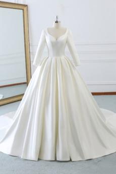 V-krk Hluboký výstřih do V Zip nahoru Přirozeného pasu Svatební šaty