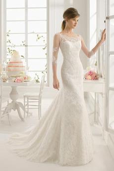 Okouzlující Krajka Zip nahoru Sál Bateau Mořská panna Svatební šaty