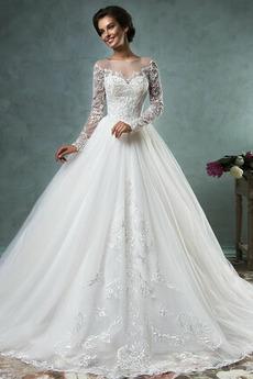 Dlouhý rukáv Bateau Jaro Úplně zpátky Princezna Svatební šaty