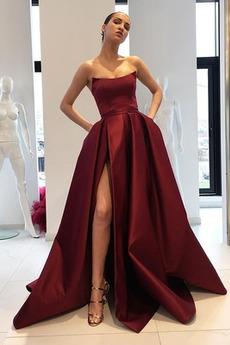 Bez ramínek Oslava Bez rukávů Přirozeného pasu Elegantní Promové šaty