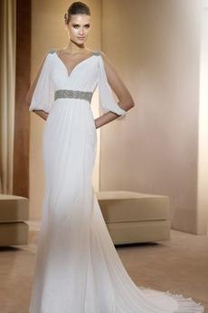 Střední záda Střední Lištování Bez rukávů Bílá Svatební šaty