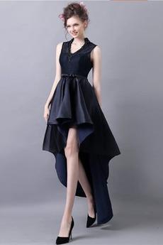 Asymetrické Podzim V-krk Satén Přírodní pas Vysoká nízká Koktejlové šaty