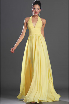 Sexy Bez rukávů Světle žlutá Říše Zamést vlak Společenské šaty