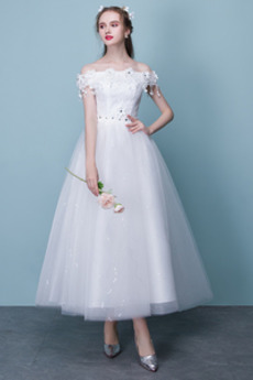 Nášivky Přirozeného pasu Čaje Délka Rosný rameno Svatební šaty