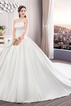 Jednoduchý Rouška Kostel Podzim Satén Bez ramínek Svatební šaty