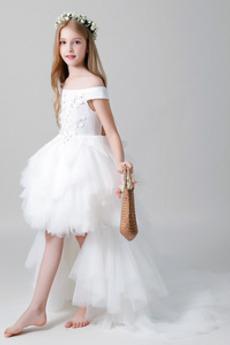 Rosný rameno Svatba Vysoká nízká Krátký rukáv Květinářka Šaty