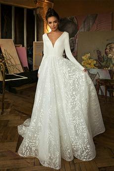A-Čára Hluboký výstřih do V Střední Bezzadu T-shirt rukáv Svatební šaty
