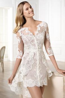 Plášť V-krk Krajka Vysoká nízká Krátký Okouzlující Svatební šaty