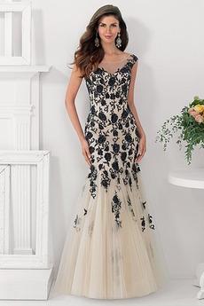 Krajkou Overlay Elegantní Zip Podzim Svatba Bateau Matky šaty