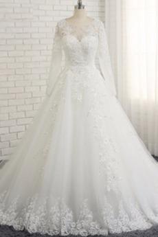 Dlouhý rukáv A-Čára Přírodní pas Dlouhý Bateau Svatební šaty