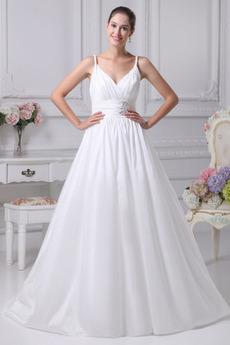 Jednoduchý Široká ramínka Střední Délka podlahy Svatební šaty