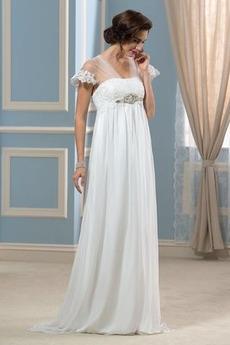 Šik Pláž Náměstí Trojúhelník záhyb Krátké rukávy Svatební šaty