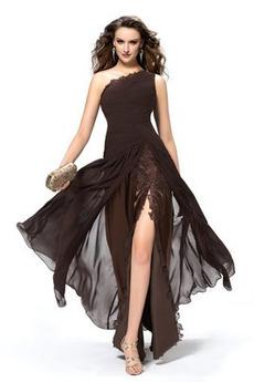 Jedno rameno Elegantní Hruška Přírodní pas Bez rukávů Společenské šaty
