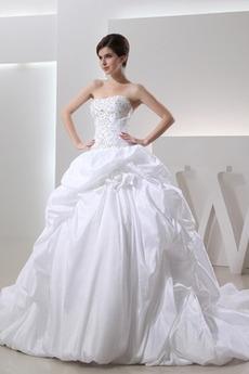 Zimní Dlouhý Bez ramínek A-Čára Taft S hlubokým výstřihem Svatební šaty