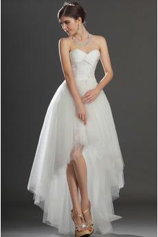 Asymetrické Bílá Vysoká nízká Přírodní pas Romantický Svatební šaty