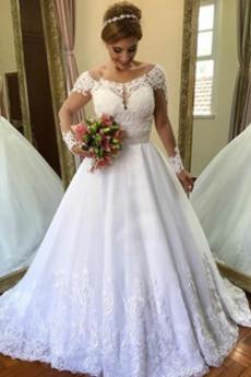 Podzim Rosný rameno A-Čára Přirozeného pasu Dlouhý Svatební šaty