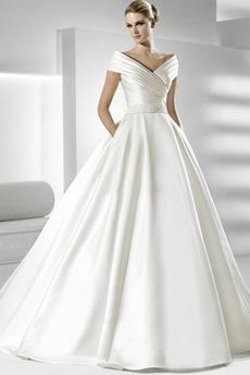 Zimní Krátký rukáv Kostel Přirozeného pasu Rosný rameno Svatební šaty