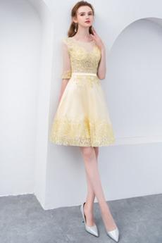 A-Čára Krajkou Overlay Iluze Lištování Střední Koktejlové šaty
