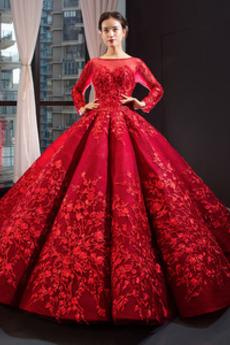 Bateau stydlivý Podzim Krajkou Overlay Formální Promové šaty