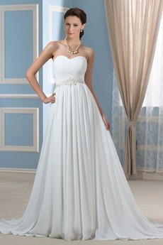 Korálkový pás A-Čára Rouška Elegantní Přirozeného pasu Svatební šaty