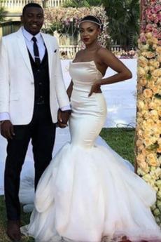 Satén Jednoduchý Přírodní pas Dlouhý Bezzadu Bez rukávů Svatební šaty