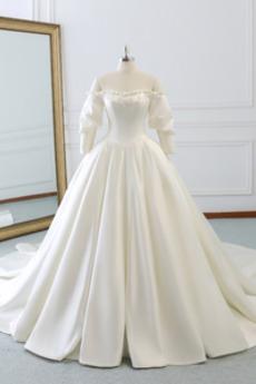 Zimní Jablko Dlouhý Bateau A-Čára T-shirt rukáv Svatební šaty