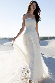Romantický Bezzadu Dlouhá Bez ramínek A-Čára Klesl pas Svatební šaty
