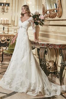 A-Čára Dlouhý Krajka Krystal Zahrada Iluze Zimní Svatební šaty